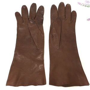 1940's Cognac Brown Kid Leather Mid Length Gloves